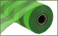 "10.5""X10yd Faux Jute/Poly Mesh Small Stripe, Fresh Green/Moss O"