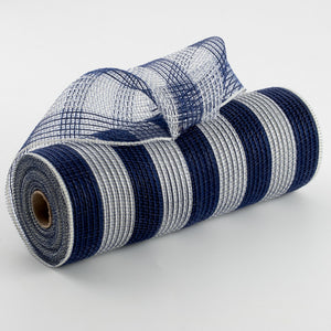 "10.5""X10yd Faux Jute/Poly Mesh Small Stripe, Navy/Cream ***ARRIVING AUGUST 2021***"