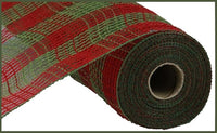 "10.5""X10yd Poly/Faux Jute Small Check Mesh, Red/Moss Green"