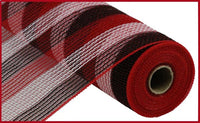 "10.5""X10yd Faux Jute/Poly Mesh Small Stripe, Red/White/Black ***ARRIVING SUMMER 2021***"