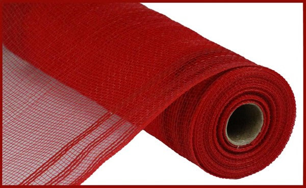 "10.25""X10yd Poly/Faux Jute Border Stripe Mesh, Red/Red VVVA ***ARRIVING MAY 2021***"