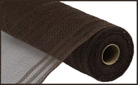 "10.25""X10yd Poly/Faux Jute Border Stripe Mesh, Chocolate/Chocolate ***ARRIVING MAR 2021***"