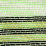 "10.25""X10yd Poly/Faux Jute Border Stripe Mesh, Lime/Black/Fresh Green OA"