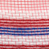 "10.25""X10yd Poly/Faux Jute Border Stripe Mesh, Red/White/Blue on Red OA"
