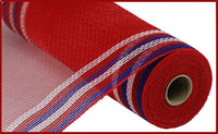 "10.25""X10yd Poly/Faux Jute Border Stripe Mesh, Red/White/Blue on Red O"
