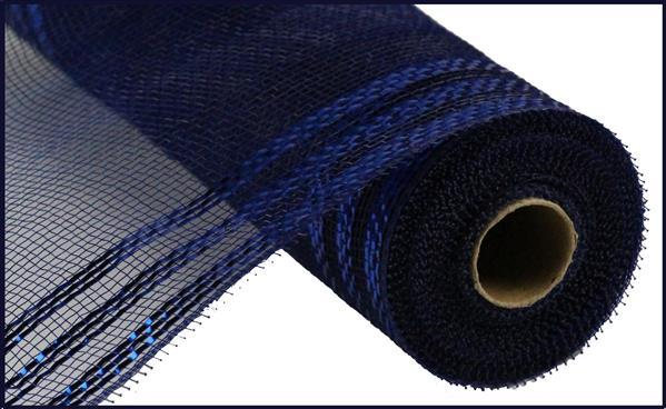 "10.5""X10yd Border Stripe Metallic Mesh, Navy w/Royal Blue Foil - KRINGLE DESIGNS"