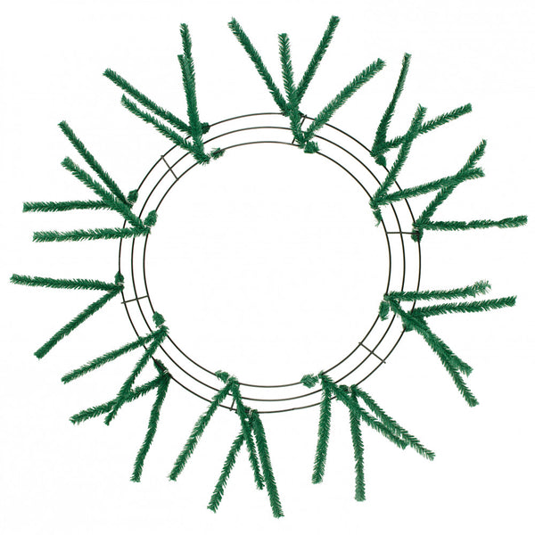 "15"" Wire, 25"" OAD Pencil Work Wreath Frame, 3 Tiers, 18 Ties, Emerald Green - KRINGLE DESIGNS"