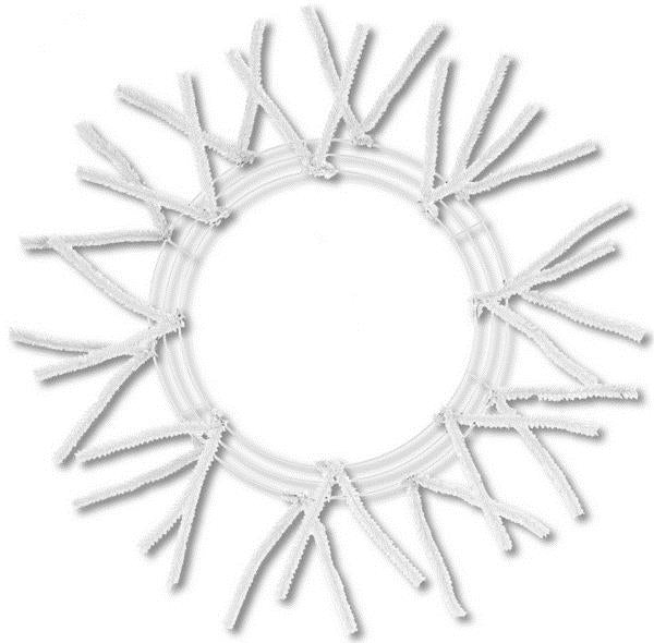 "15"" Wire, 25"" OAD Pencil Work Wreath Frame, 3 Tiers, 18 Ties, White Color - KRINGLE DESIGNS"