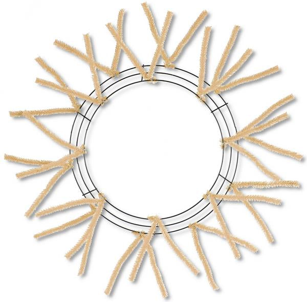 "15"" Wire, 25"" OAD Pencil Work Wreath Frame, 3 Tiers, 18 Ties,, Burlap Color - KRINGLE DESIGNS"