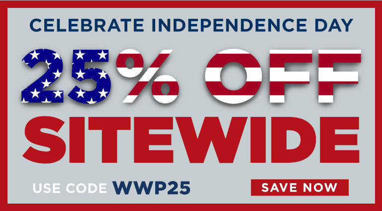 Celebrate Independence Day. 25% off sitewide. Use code WWP25. Save now.
