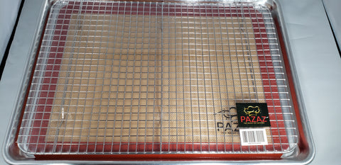 Heavy Duty Aluminum Baking Pan, Steel Mesh Cooling Rack, and  Non-Stick Silicone Baking Mat
