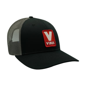 """Vibes"" Black, Grey & Red Trucker Hat"