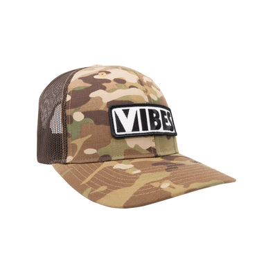 """Vibes"" Black/Woodland Camo Trucker Hat"