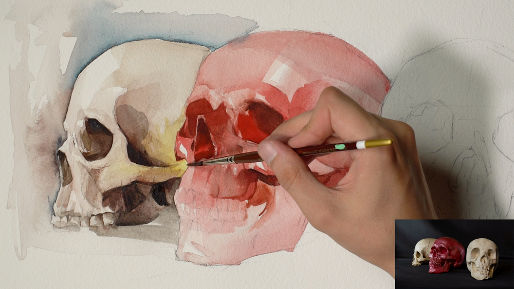 "Nick Runge | ""Examining The Skull In Watercolor"""