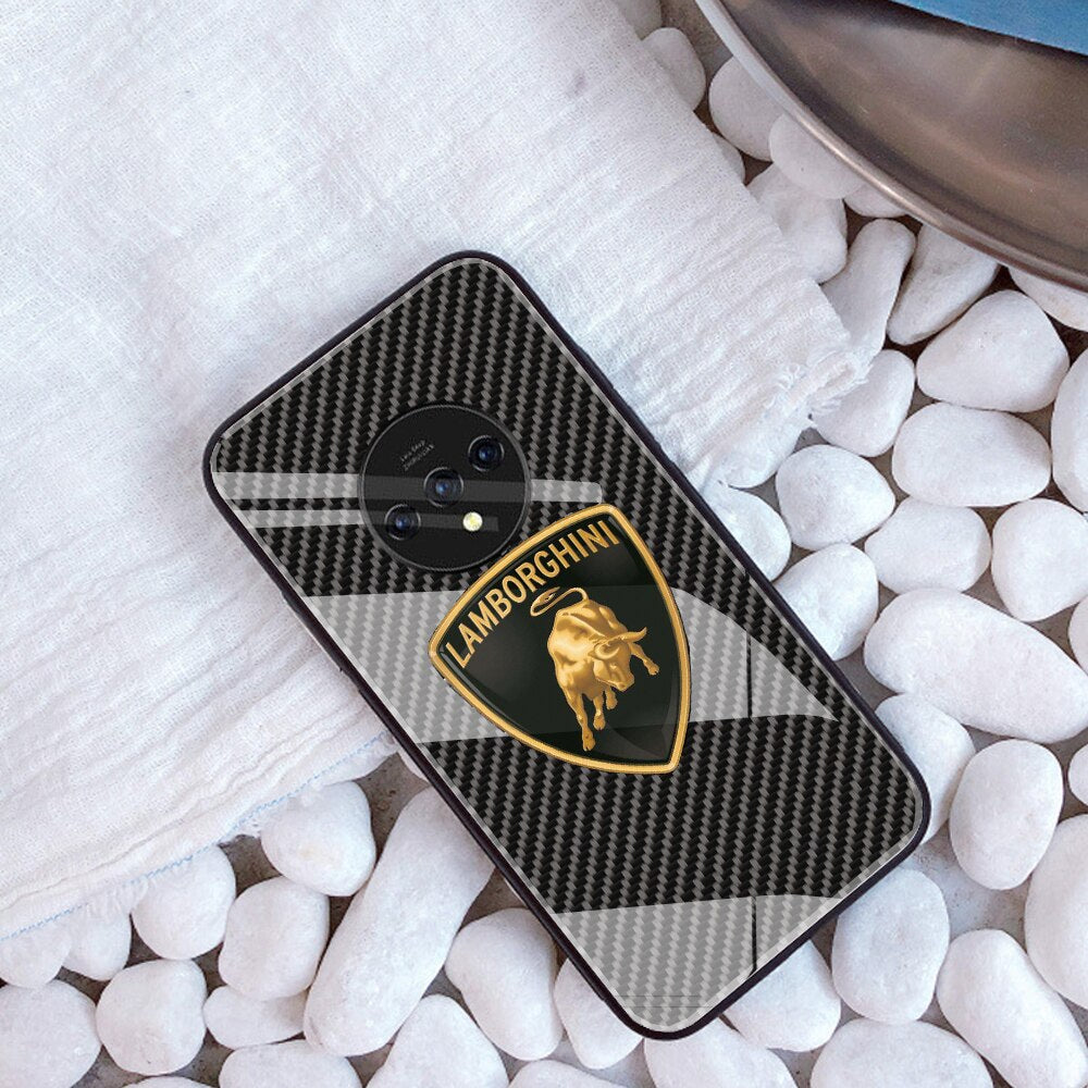 Lamborghini Tempered Glass Carbon Fiber Case