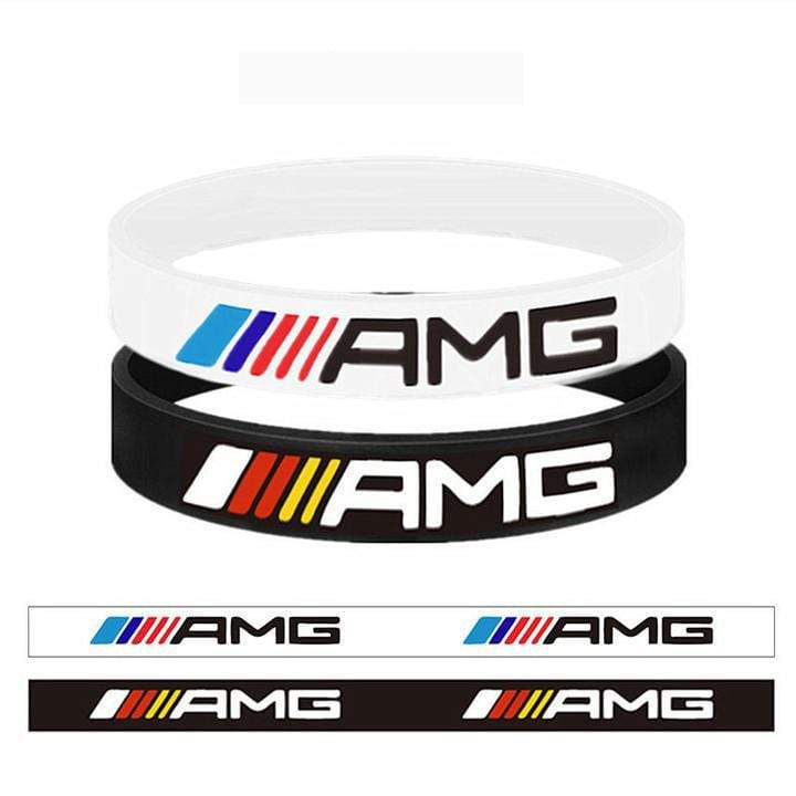 Broshop Bracelet White AMG & Black Colorful [2 Pieces] Mercedes AMG Bracelet