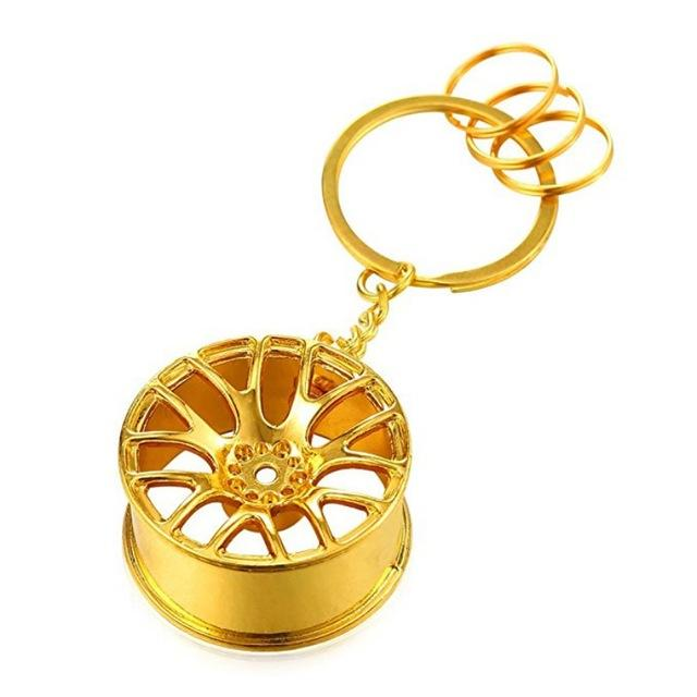 Broshop Keychain Gold Car Wheel Keychain