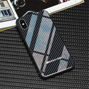 Broshop Phone Case AMG / Huawei Mate 20 Huawei Tempered Glass Carbon Fiber Case