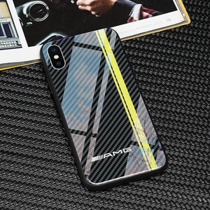 Broshop Phone Case AMG Line / Huawei Mate 20 Huawei Tempered Glass Carbon Fiber Case