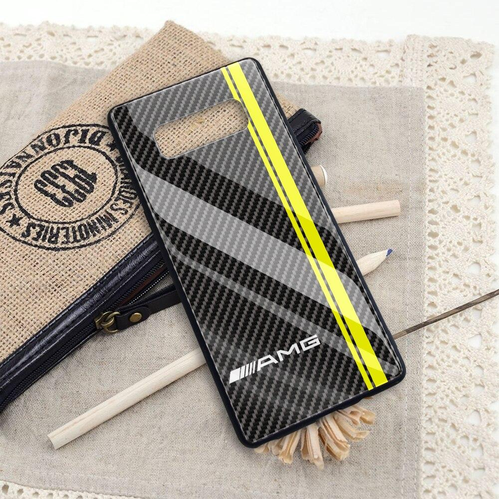Broshop Phone Case AMG Line / Samsung Galaxy A10 A SERIES Samsung Tempered Glass Carbon Fiber Case