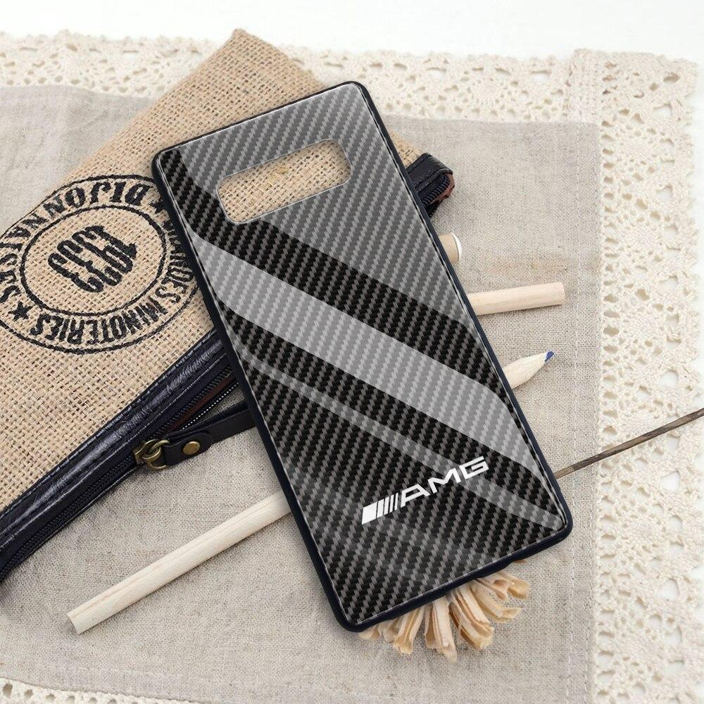 Broshop Phone Case AMG / Samsung Galaxy A10 A SERIES Samsung Tempered Glass Carbon Fiber Case