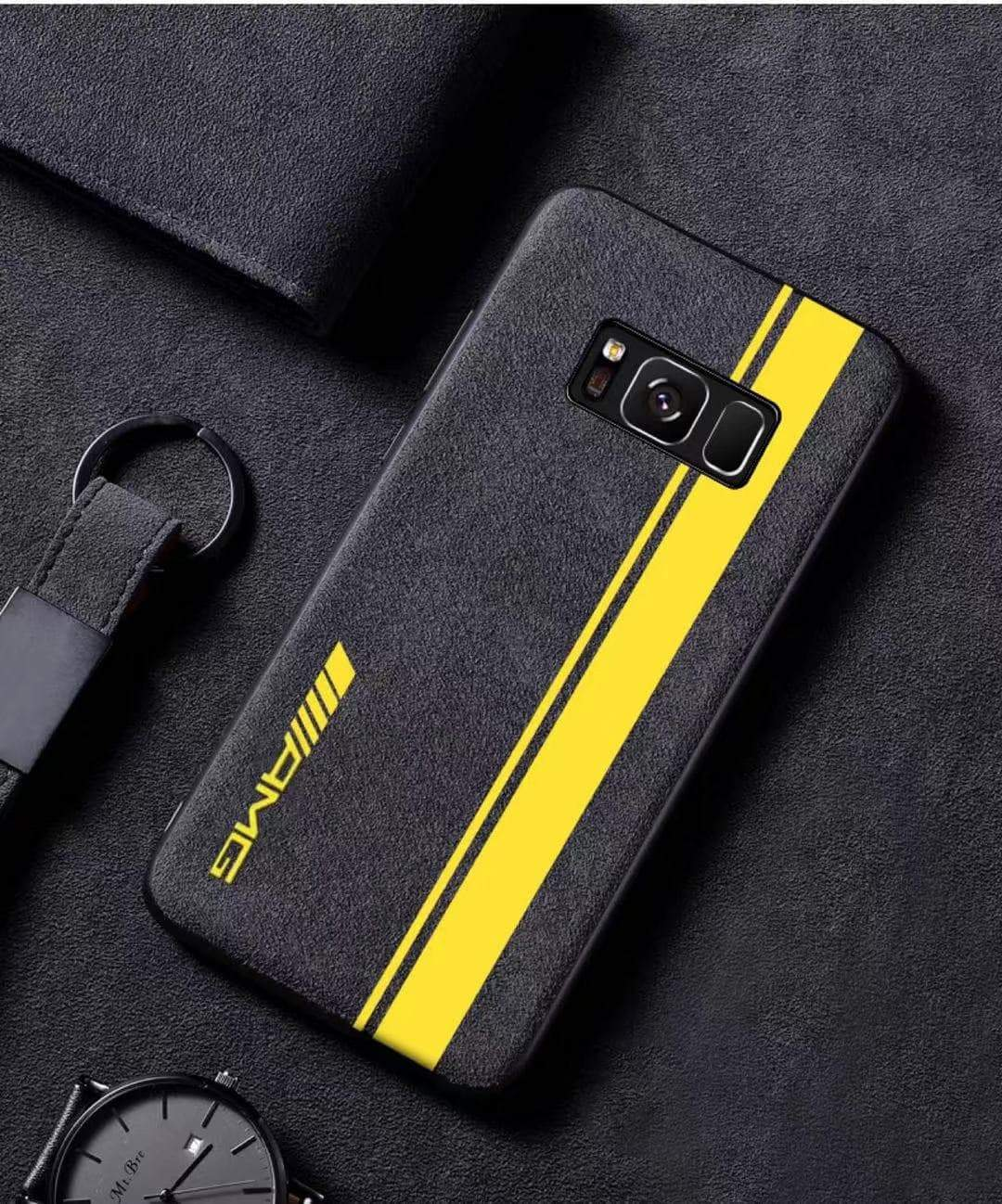 Broshop Phone Case AMG Yellow Line / Samsung Galaxy S8 LIMITED EDITION Luxury Suede/Alcantara Samsung Case