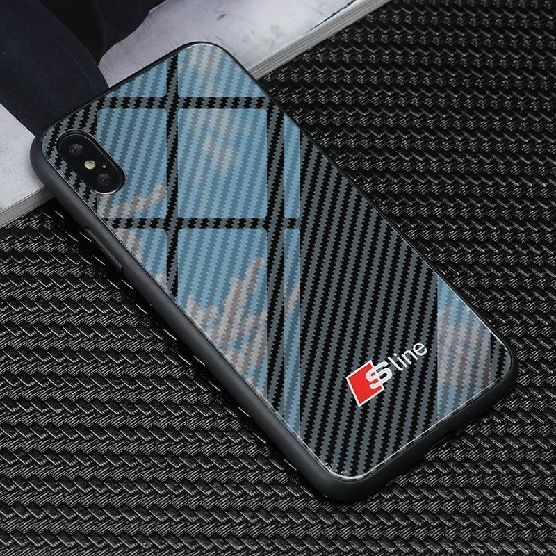 Broshop Phone Case Audi S Line / Huawei Mate 20 Huawei Tempered Glass Carbon Fiber Case