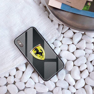 Broshop Phone Case Ferrari / Iphone 6/6S {NEW!} iPhone Tempered Glass Carbon Fiber Case