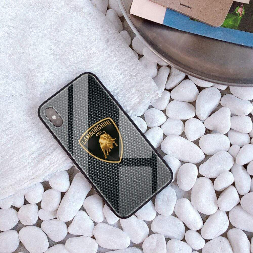 Broshop Phone Case Lamborghini / Iphone 6/6S {NEW!} iPhone Tempered Glass Carbon Fiber Case