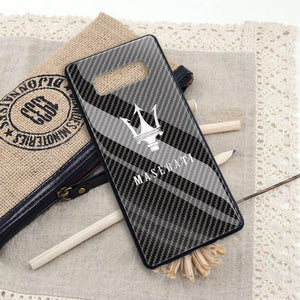 Broshop Phone Case Maserati / Samsung Galaxy A10 A SERIES Samsung Tempered Glass Carbon Fiber Case