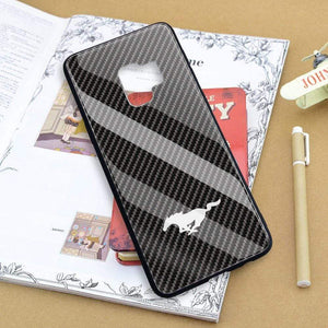 Broshop Phone Case Mustang / Samsung Galaxy S8 Samsung Tempered Glass Carbon Fiber Case