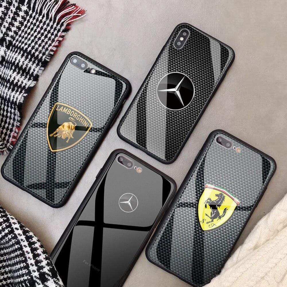 Broshop Phone Case {NEW!} iPhone Tempered Glass Carbon Fiber Case