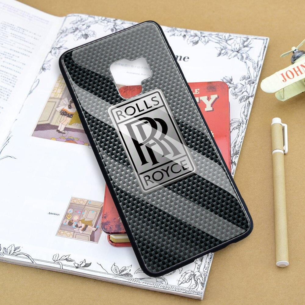Broshop Phone Case Rolls Royce / Samsung Galaxy A10 A SERIES Samsung Tempered Glass Carbon Fiber Case