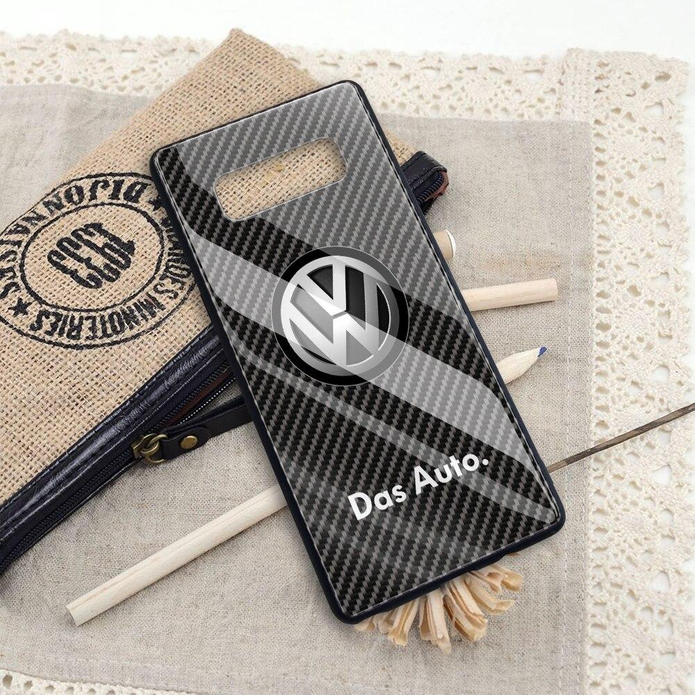Broshop Phone Case VW / Samsung Galaxy A10 A SERIES Samsung Tempered Glass Carbon Fiber Case