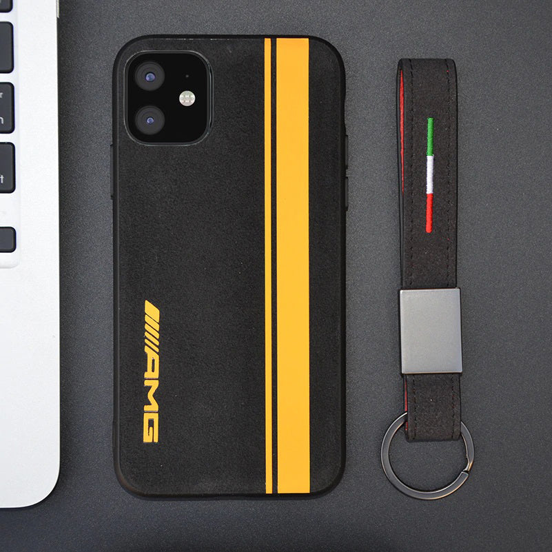 Iphone 12 AMG Yellow Line alcantara case BroShop