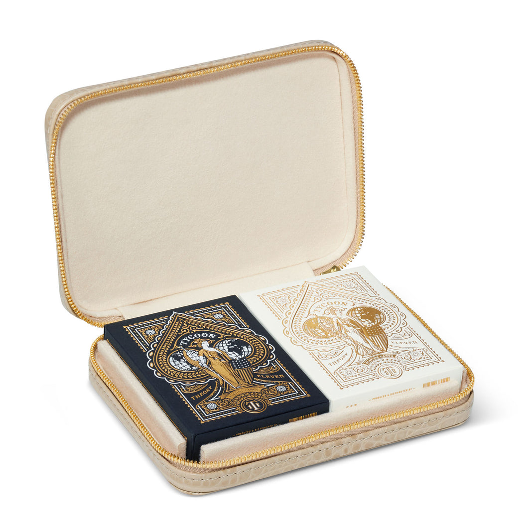 Croc Embossed Leather Travel Card Set