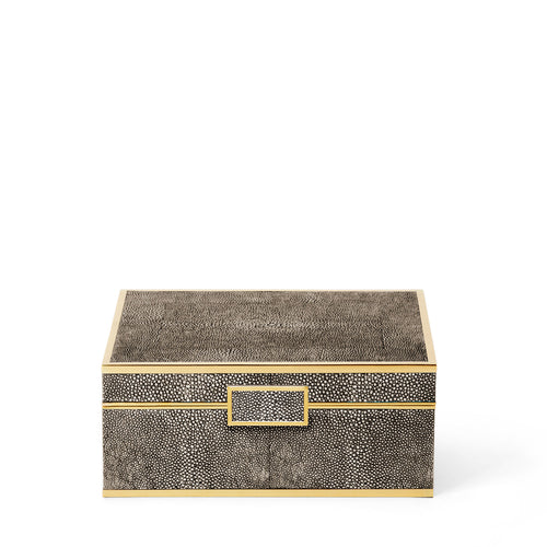 Classic Embossed Shagreen Chocolate Jewelry Box