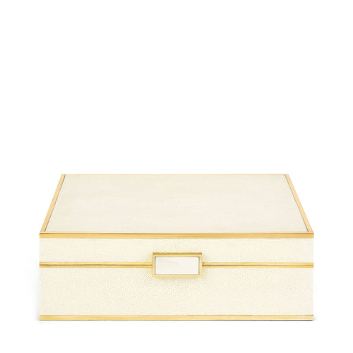 Classic Embossed Shagreen Cream Jewelry Box
