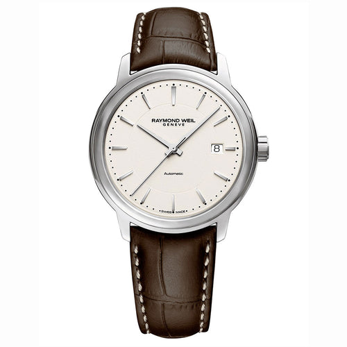 Raymond Weil Maestro Men's Ivory Automatic Leather Watch