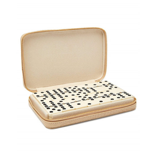 Croc Embossed Leather Travel Domino Set