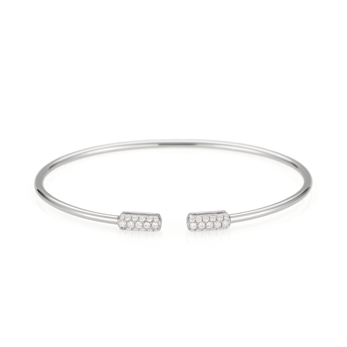 18k White Gold and Diamond End Cap Cuff Bracelet