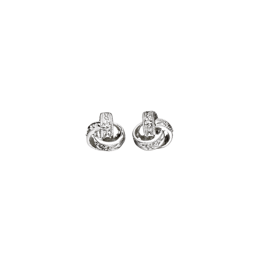 Classic 14k Gold Diamond Love Knot Earrings