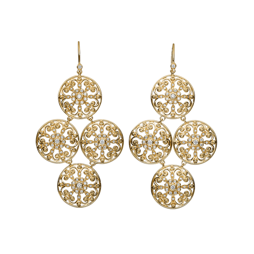 Arabesque 18k Gold and Diamond Earrings