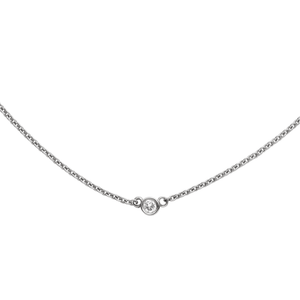 Classic 14k White Gold and Bezel Diamond Necklace