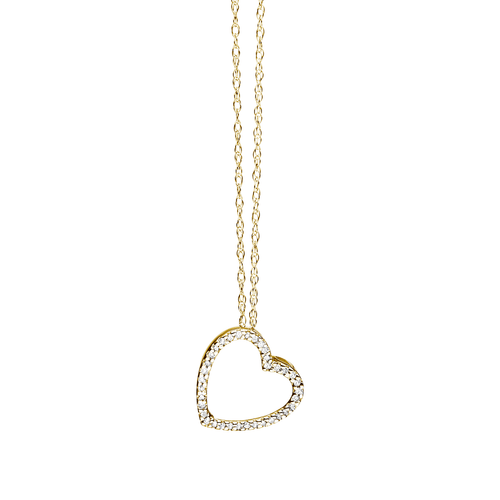 Classic 14k Gold and Diamond Heart Necklace