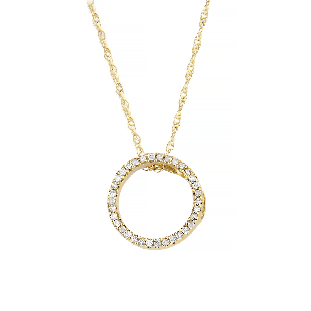 14k Gold Mini Circle Diamond Pendant