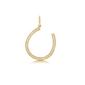 14k Yellow Gold and Diamond Horseshoe Charm