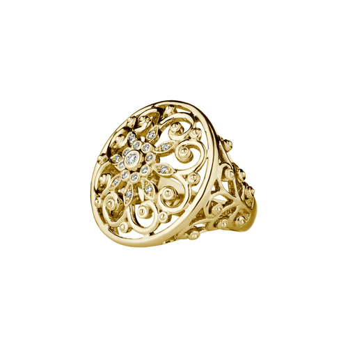 Arabesque 18k Yellow Gold and Diamond Ring