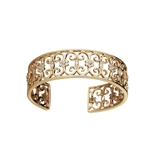 Arabesque 18k Gold and Diamond Cuff Bracelet