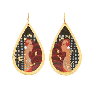 Erté Top Hat Teardrop Earrings